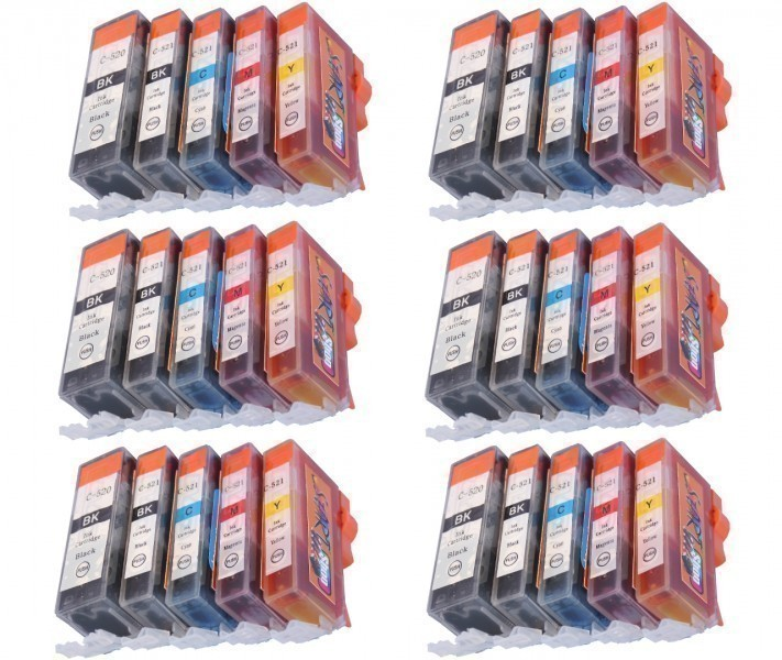 30 Compatible Ink Cartridges to Canon PGI-520 / CLI-521  (BK, PHBK, C, M, Y)