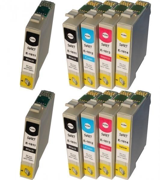 10 Ersatz Chip Patronen kompatibel zu Epson 18XL, T1811, T1812, T1813, T1814