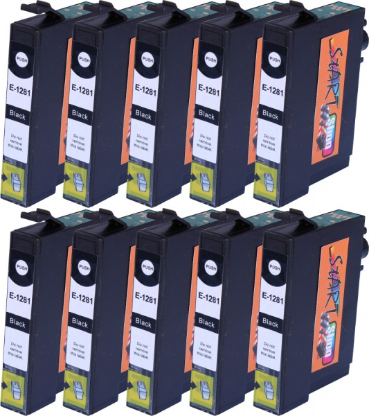 10 Compatible Ink Cartridges to Epson T1281 (BK, C, M, Y)
