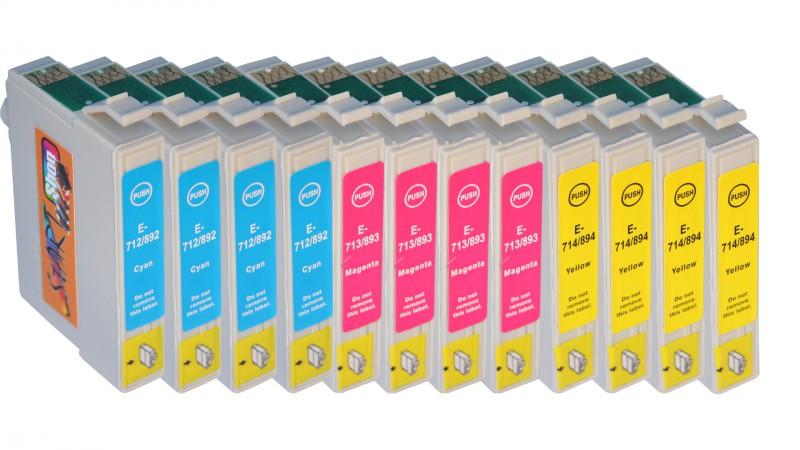 12 Compatible Ink Cartridges to Epson T0711 - T0714  (BK, C, M, Y)