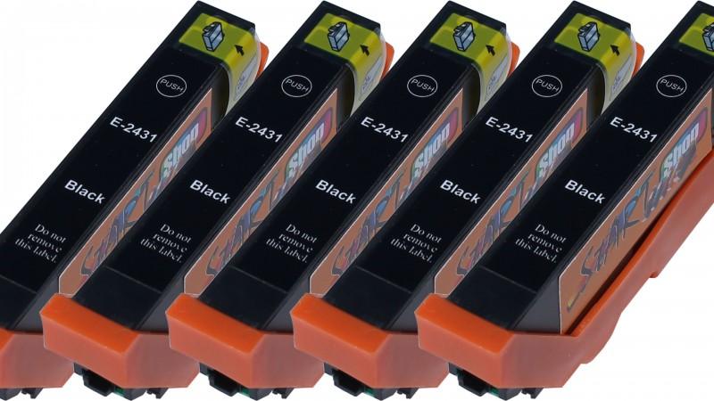 5 Ersatz CHIP Patronen kompatibel zu Epson 24XL, T2431 Schwarz
