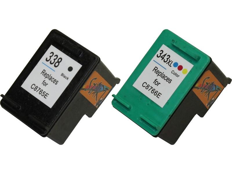 2 Ersatz Patronen kompatibel zu HP 338 Schwarz / HP 343
