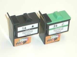 2 Ersatz Patronen kompatibel zu Lexmark 16 Schwarz / 26 Farbe