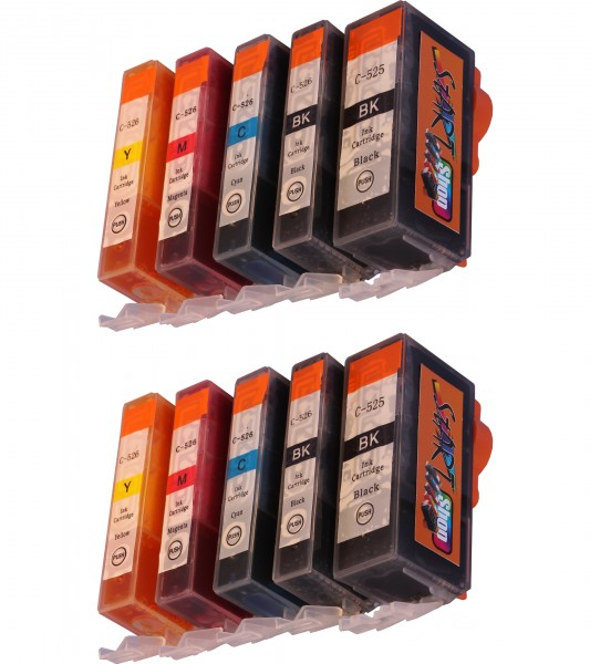 10 Compatible Ink Cartridges to Canon PGI-525 / CLI-526  (BK, PHBK, C, M, Y)