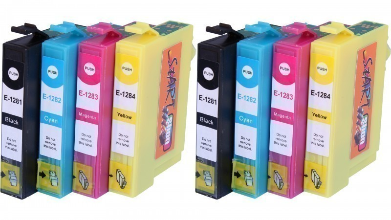8 Compatible Ink Cartridges to Epson T1281 - T1284  (BK, C, M, Y)