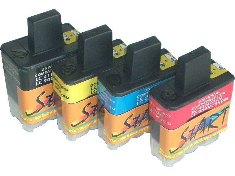 4 Compatible Cleaning Cartridges to Brother LC900  (BK, C, M, Y)