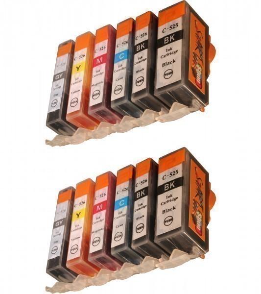 12 Ersatz CHIP Patronen kompatibel zu PGI-525 / CLI-526 inklusive Grau
